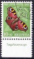 Schweiz Suisse  Pro Juventute 1955: Zu 159 Mi 619 Yv 568 O ZÜRICH 31.XII.55 MÜHLEGASSE  TAB Tagpfauenauge (SBK CHF 6.00) - Papillons