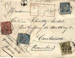 1889- Env. CHARGE  De PARIS  V D 1500 F  Affr. Sage à 2,05 F. - Marcophilie (Lettres)