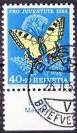 "Schweiz Suisse Pro Juventute 1954: Zu 157 Mi 606 Yv 557 O BASEL 26.II.55 + Tab Lat.  ""Papilio Machaon"" (SBK CHF 25.00 ) - Papillons"