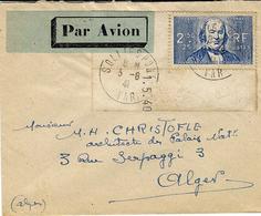 1940 - Enveloppe PAR AVION De Solliès-Pont Pour Alger Affr. N°464 SEUL  Bord De Feuille - Marcophilie (Lettres)