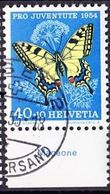 "Schweiz Suisse Pro Juventute 1954: Zu 157 Mi 606 Yv 557 O BASEL 26.II.55 + Tab Italiano  ""Machaone"" (SBK CHF 25.00 ) - Papillons"