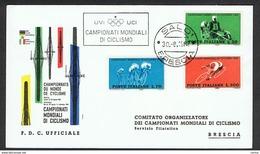 BRESCIA:  30.8.1962  CAMPIONATI  MONDIALI  DI  CICLISMO  -  F.D.C. UFFICIALE  -  FG - Manifestazioni