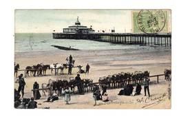 Sur CPA De Blanken Berghe CAD Blankenberghe 1907 Sur 5 C. Vert Jaune. Cachet Paris étranger. (2268) - Postmark Collection