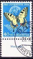 "Schweiz Suisse Pro Juventute 1954: Zu 157 Mi 606 Yv 557 O BASEL 26.II.55 + Tab Français  ""Machaon"" (SBK CHF 25.00 ) - Papillons"
