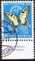 """Schweiz Suisse Pro Juventute 1954: Zu 157 Mi 606 Yv 557 O BASEL 26.II.55 Tab Deutsch """"Schwalbenschwanz"""" (SBK CHF 25.00 ) - Papillons"""