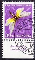 "Schweiz Suisse Pro Juventute 1954: Zu 156 Mi 605 Yv 556 O BASEL 26.II.55 Tab ""Ascalaphus Libelluloides"" (SBK CHF 24.00) - Papillons"