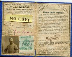 PEU COMMUN ! CARTE 1926 LIGUE ACTION FRANCAISE SIGNEE LECOEUR CHALAIS  MILITARIA ROYALISTE POLITIQUE VIEUX PAPIERS - France