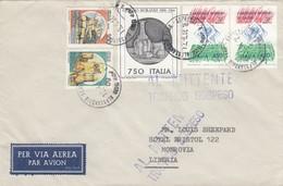 12335-BUSTA DA ALESSANDRIA AFFRANCATA CON COMMEMORATIVI PER LA LIBERIA-1990 - 1981-90: Storia Postale