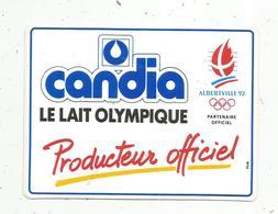 Autocollant , SPORTS , Albertville 1992, CANDIA ,  Producteur Officiel ,le Lait Olympique - Autocollants