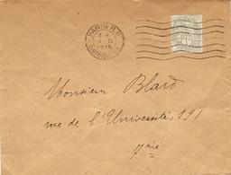 1919- Enveloppe Ouverte De Paris R P  Affr. 1 C Blanc  -cartes Et Circulaires électorales Tarif Du 1 Er Avril 1920 - Storia Postale