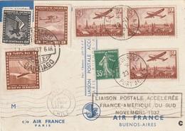 Liaison Postale Accélérée France-Amérique Du Sud 13 Novembre 1937 Sur Carte Air France N° 13 X 2 - Poste Aérienne