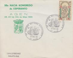 Enveloppe  58éme  CONGRES   NATIONAL   D' ESPERANTO   AGEN    1966 - Esperanto