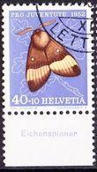 """Schweiz Suisse Pro Juventute 1952: Zu 147 Mi 579 Yv 530 O LETT... + Tab Deutsch """"Eichenspinner"""" (SBK CHF 29.00) - Papillons"""
