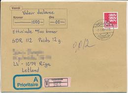 Mi 827 Solo Cover / Valeur Value Wertbrief Værdibrev - 7 January 1998 Brøndby Strand, Vallensbæk To Latvia - Dinamarca