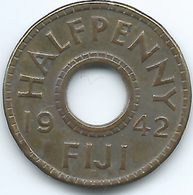 Fiji - George VI - 1942 -½ Penny - KM14a - Brass Coin - Figi