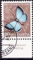 """Schweiz Suisse Pro Juventute 1952: Zu 146 Mi 578 Yv 529 O BASEL + Tab Deutsch """"Silbergrauer Bläuling"""" (SBK CHF 28.00) - Papillons"""