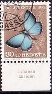 "Schweiz Suisse Pro Juventute 1952: Zu 146 Mi 578 Yv 529 O BASEL + Tab Latinum ""Lycaena Coridon"" (SBK CHF 28.00) - Papillons"