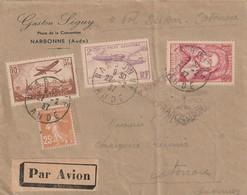 Premier Vol Dackar Cotonou Avrc Timbre Francais Parti De Narbonne (N°13 ) - Poste Aérienne