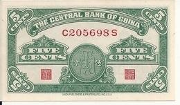 CHINE 5 FEN 1939 UNC P 225 - Cina