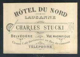 LAUSANNE - SUISSE - HOTEL DU NORD - CHARLES STUCKI - Cartoncini Da Visita