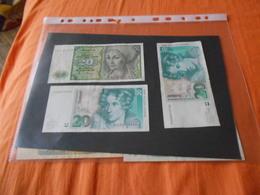 GERMANY    1960   1991    1993  -   20  MARKS   3    BILLETS   LOT - 20 Deutsche Mark