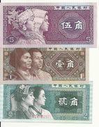 CHINE 1-2-5 JIAO 1980 UNC P 881-882-883 ( 3 Billets ) - Chine