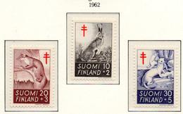 PIA - FINLANDIA  - 1962 : Pro Tubercolotici - Animali Selvatici - (Yv 527-29) - Malattie
