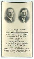 Souvenir Mortuaire : Victor DESCHAEPMEESTER Et Emile WILLOCQ (Résistance - FI - Ath - Rebaix - 1940-1944) - Obituary Notices
