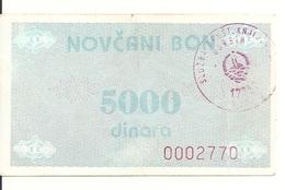 BOSNIE HERZEGOVINE 5000 DINARA ND1992 VF P 51 - Bosnia And Herzegovina