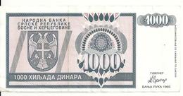BOSNIE HERZEGOVINE 1000 DINARA 1992 VF P 137 - Bosnie-Herzegovine