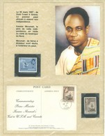 Kwame Nkrumah + Ashanti Cloth.  Ghana, Anc. : Gold Coast; Timbres Scott # 4 + 25 + 151. Exposition PAGE Exhibit (6979) - Ghana (1957-...)