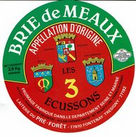 Belle ét. BRIE De MEAUX - Les 3 écussons - Fromage