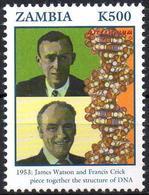 ZAMBIA 1v MNH** Watson & Crick - DNA Structure - ADN - Genetic Génétique Genética Health Médecine Medicine Medicina - Medicine