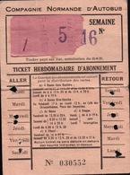 Carte De Transports De La COMPAGNIE NORMANDE D'AUTOBUS - Season Ticket