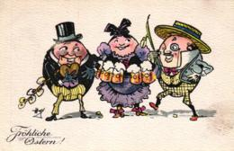 Ostern, Männer Und Frau Al Ei, Verlag BKW, Ca. 20er Jahre - Pâques