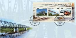 Latvia 2012 Bridges And Train Of Baltic States S/s   - Joint Issue Estonia, Lithuania FDC - Latvia
