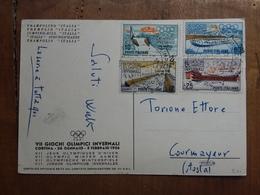 REPUBBLICA - Olimpiadi Di Cortina 1956 - Serie Completa Su Cartolina Ufficiale + Spese Postali - 6. 1946-.. Repubblica