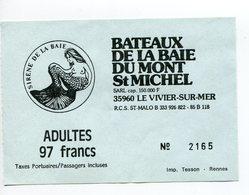 Tickets De Transports-France-bateaux De La Baie Du Mont St Michel - Boat