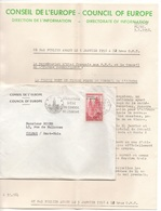 CONSEIL DE L'EUROPE / 1958 TIMBRE DE SERVICE SUR LETTRE & COURRIER (ref 4855) - Dienstpost