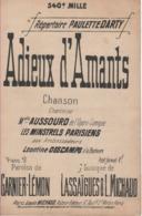 Partitions-ADIEUX D'AMANTS Paroles De Garnier(Lémon, Musique De Lassaigues & L Michaud - Scores & Partitions