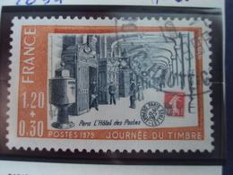 """1978-timbre Oblitéré N° 2037    """" Paris, Hotel Des Postes JT Du Timbre     """"      0.20 - France"""