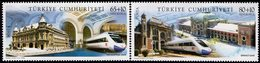 Turkey - 2008 - Railway Station Buildings And Modern Trains - Mint Stamp Set - 1921-... Republic