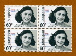 Anne Frank - Nederland Netherlands Pays-Bas - Mint Block Of 4 Stamps. Bloc De 4 Timbres Neufs. 4 Postfrisch Briefmarken - Celebrità