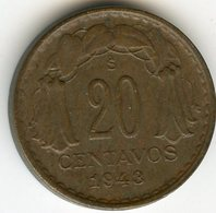 Chili Chile 20 Centavos 1943 KM 177 - Chili