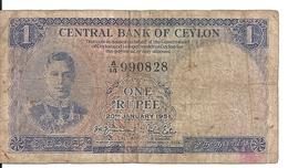 CEYLON 1 RUPEE 1951 VG+ P 47 - Sri Lanka
