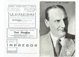 Livret THEATRE ROYAL DES GALERIES Bruxelles SATURNIN FABRE Saison 1949-50 Programme - Cigarettes Tigra - Theater