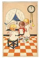 CP : Ange, Horloge, Cadeau, Fenêtre Arcade, Tabouret, Sol En Damier - Coloprint Spécial B 1421 - Angels