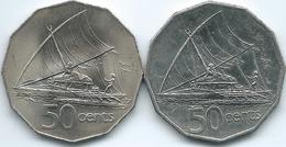 Fiji - Elizabeth II - 50 Cents - 2nd Portrait - 1975 (KM36); 3rd Portrait - 1995 (KM54a) - Figi