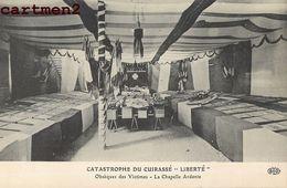 """TOULON CATASTROPHE DE LA """"LIBERTE"""" OBSEQUES DES VICTIMES LA CHAPELLE ARDENTE BATEAU  GUERRE - Toulon"""