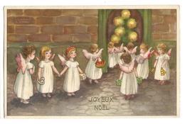 CP : Une Ribambelle D'anges Portant Des Cadeaux, Coeur, Sapin, Bougie, Panier, Cloche - HWB Série 6066 - Angels